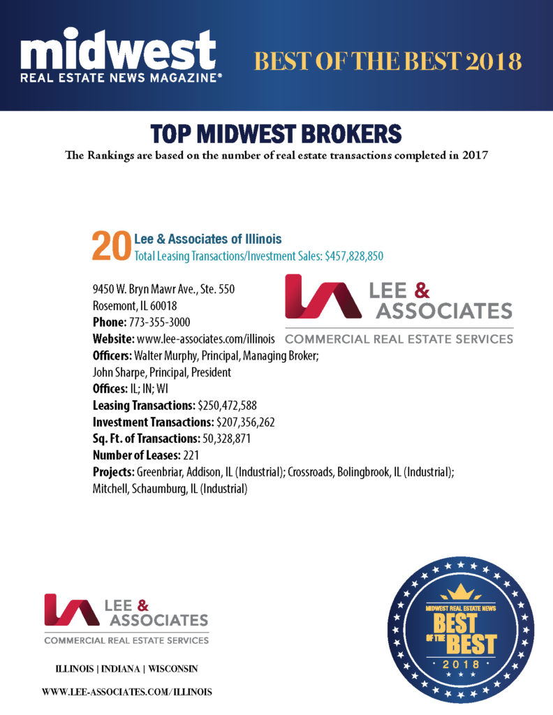 Lee & Associates of Illinois Makes 2018 Midwest CRE Best of