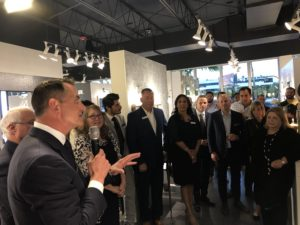 John Kohler speaks to attendees of the Grand Opening celebration of their new Kohler Signature Store in Pinecrest, FL
